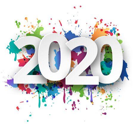 Ilustración de Happy new Year 2020 celebration with colorful spray paint template background. Vector paper illustration. - Imagen libre de derechos