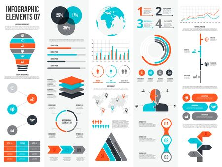 Illustration for Big set of infographic elements. Can be used for steps, business processes, workflow, diagram, flowchart concept and timeline. Data visualization vector design template. - Royalty Free Image
