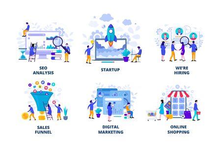Illustration pour Seo analysis, startup, digital marketing and sales funnel flat vector illustration. Landing page template for web. - image libre de droit