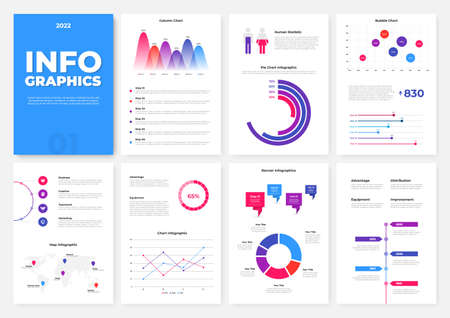 Illustration pour Infographic brochure template. A4 pages with charts, diagrams and workflow elements. Business data visualization concept. Vector illustration for presentation, statistical report, website - image libre de droit
