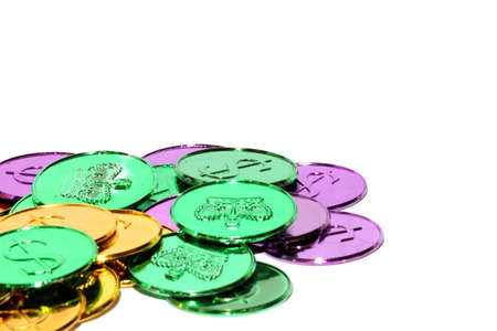 Isolated view of different mardi gras coins