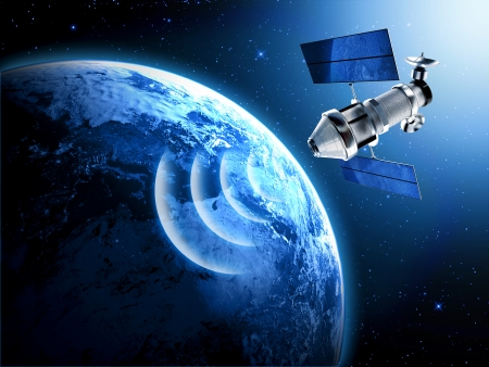 Photo for satellite in space - Royalty Free Image