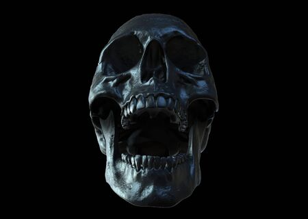 Photo pour Black skull screaming isolated in black background 3d illustration - image libre de droit