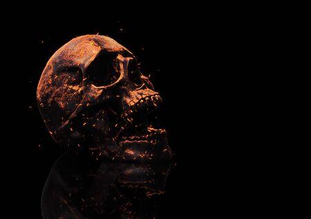 Photo pour Skull burning in fire 3d rendering background - image libre de droit