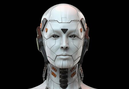 Photo for Sci-fi woman robot - Cyborg android Humanoid Artificial intelligence background-3D render - Royalty Free Image