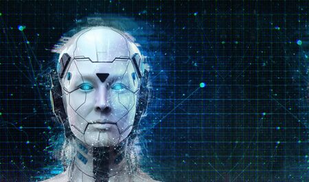 Photo for Technology Robot sci-fi woman Cyborg android background -Humanoid Artificial intelligence wallpaper-3D render - Royalty Free Image
