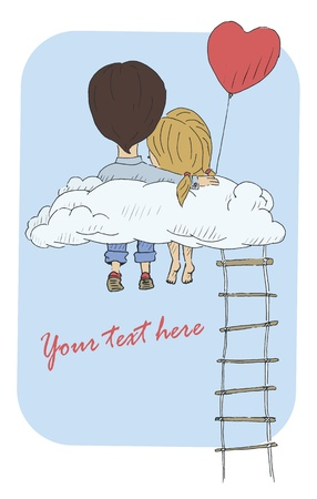 A vintage postcard with a loving couple sitting on a cloud  Vector illustration