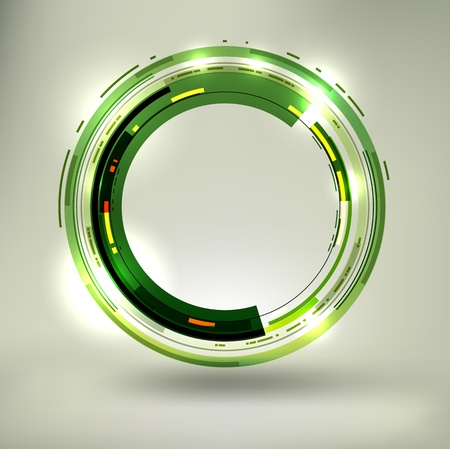 Abstract dark green lightened rounds, forming a cool placeholder with flashes and light effects.