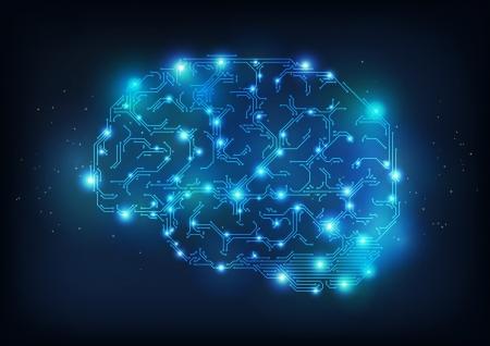 Illustration pour Hi tech brain made of electric lines, symbolizing the progress of computer technologies - image libre de droit