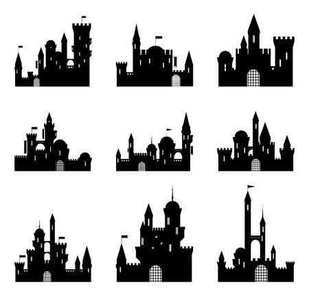 Set of black medieval castle silhouettes. Vector illustration.