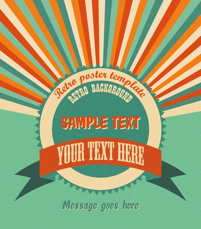 Cool retro background with radial rays and a round placeholder for your text
