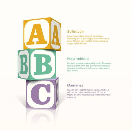Tree cubes with letters on the sides on a vector background. Step by step concept