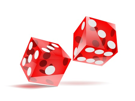 glassy rolling red dice with white dots, isolated on white, EPS10 vector