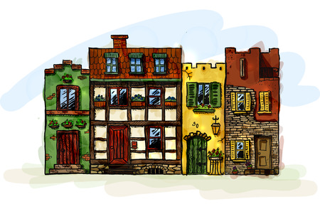 Row of four hand drawn old european narrow houses. EPS10 vector image.