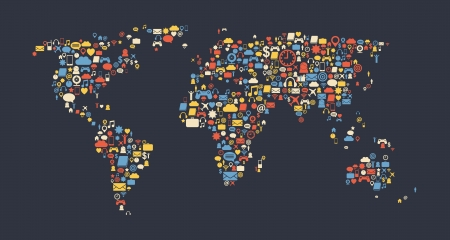 World map made of media icons. Globalization and internet concept. Vector image.