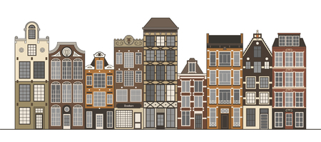 Amsterdam narrow houses standing in a row isolated on white.