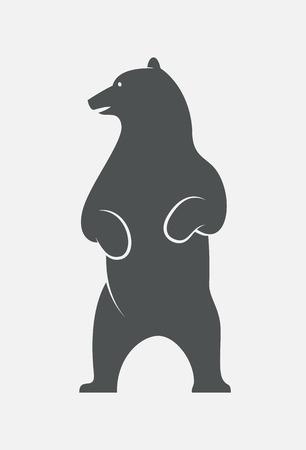 Ilustración de Standing bear head turned left logo. EPS10 vector bear outline. - Imagen libre de derechos