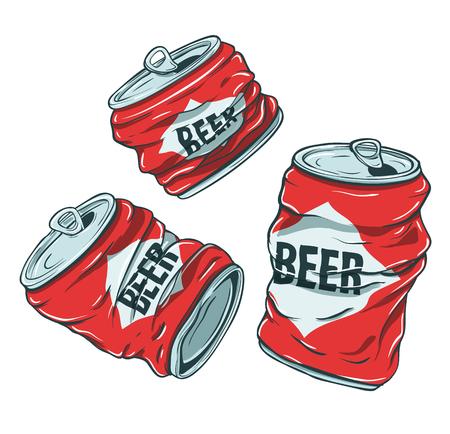 Illustration pour Beer Cans on White - image libre de droit