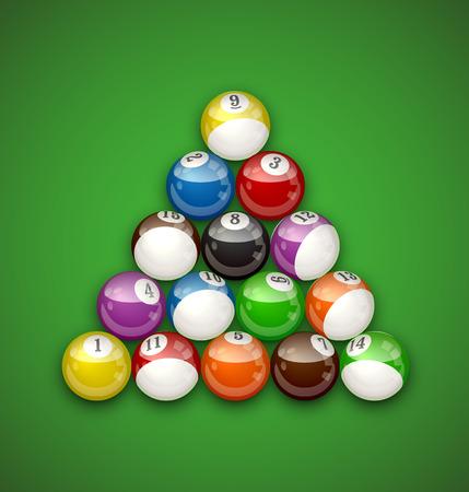 Billiard Balls Illustration isolated on plain green background.