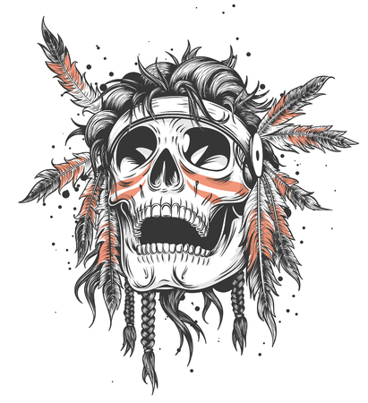 Illustration pour Indian Skull Illustration T-shirt Design template vector illustration - image libre de droit
