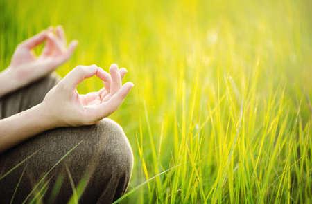 Foto de Man meditating outdoor. Healthy and Yoga Concept - Imagen libre de derechos