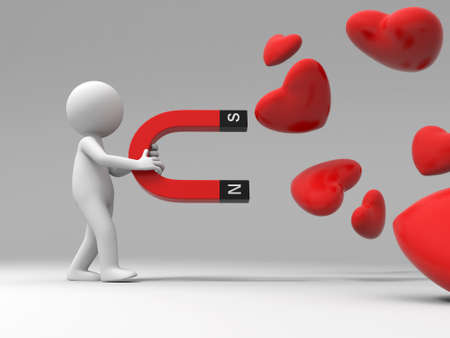 A 3d people collect love with a magnet