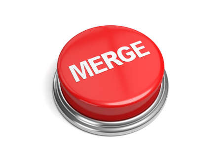 A red button with the word merge on it