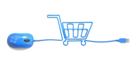 Photo pour mouse and cables in form of shopping cart on a white background - image libre de droit
