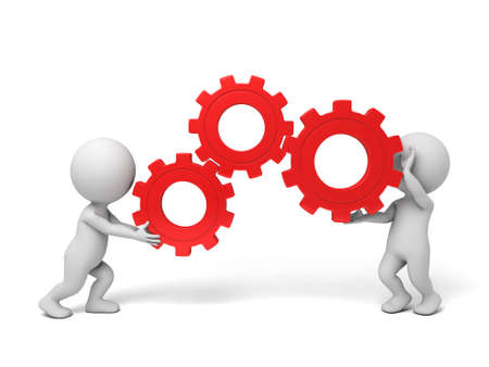 two 3d people holding gears in hands. 3d image. Isolated white background