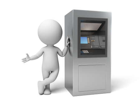 Photo for A 3d people with a ATM. 3d image. Isolated white background - Royalty Free Image