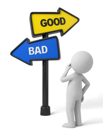 A road sign with good bad words. 3d image. Isolated white background