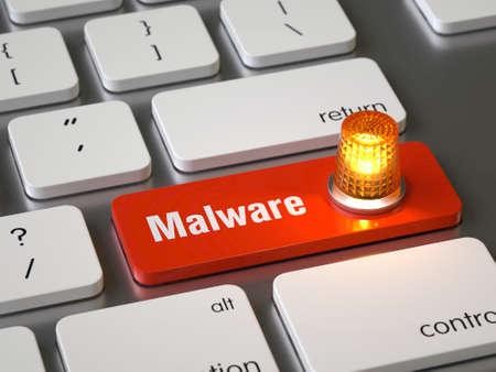 Photo pour Malware key on the keyboard - image libre de droit