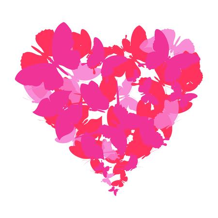 Illustration pour red heart, butterflies, valentine card - image libre de droit