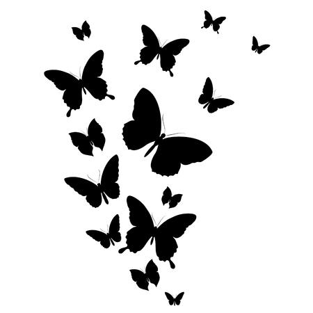 Ilustración de black butterfly, isolated on a white - Imagen libre de derechos