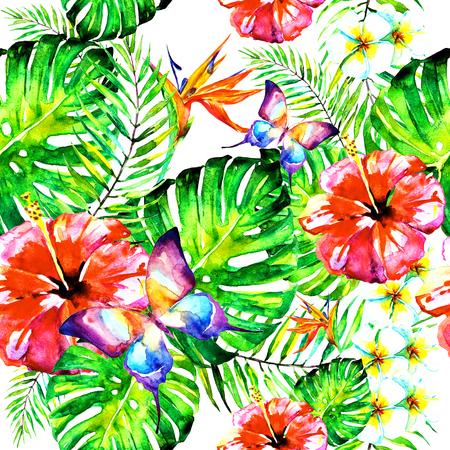 Photo pour beautiful red flowers ,palm leaves, watercolor on a white - image libre de droit
