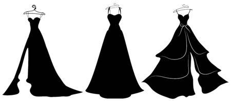 Ilustración de Wedding dress design, black and white - Imagen libre de derechos