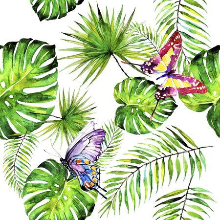 Photo for palm leaves pattern, watercolor on a white - Royalty Free Image