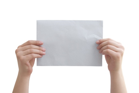 hands holding the paper on a white background