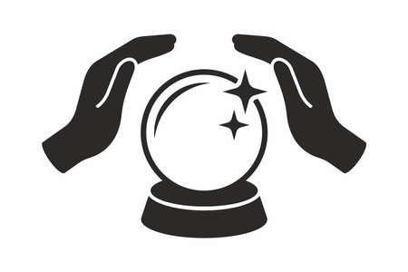 Illustration pour Crystal ball in hands. Vector icon. - image libre de droit