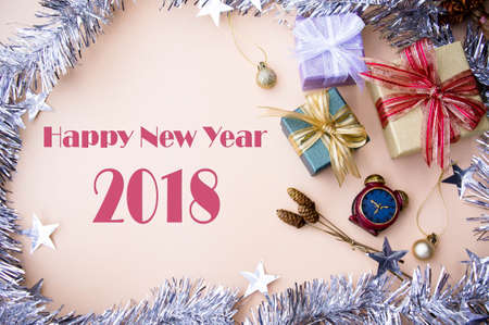 Happy New Year 2018 background gifts box decor for new year and Christmas background and copy space vintage style