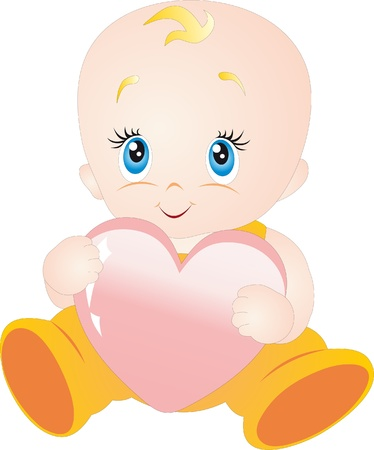 Illustration for Baby with heart - Royalty Free Image