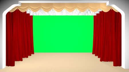 Photo pour Theater curtain parted, green background. 3D rendering - image libre de droit