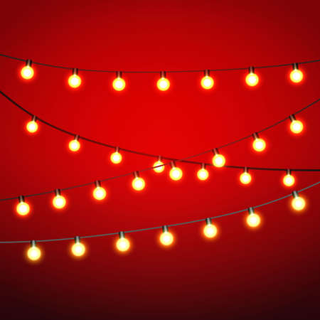 Warm yellow Lights bulb at black strings on red background. template for greeting or postal card, vector illustration