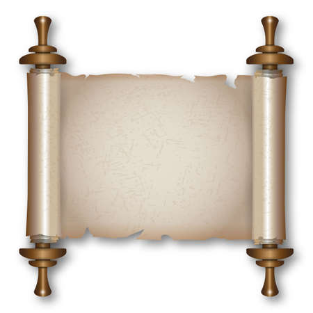 Ancient paper scroll with wooden handles and shadow. vector illustration isolated on white background