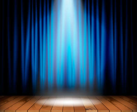 Illustration for Theater stage with wooden floor and blue curtain and a spotlight in center. Vector illustration - Royalty Free Image