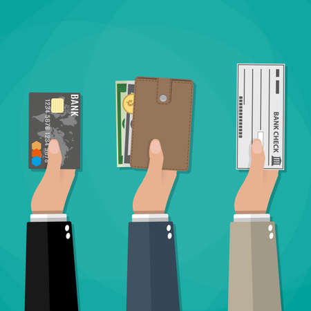 Hands holds wallet with cash, credit debit card and bank check. payment options
