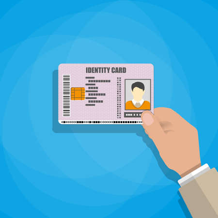 Illustration pour hand holding the id card. vector illustration in flat style on blue background - image libre de droit