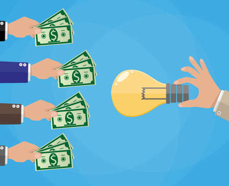 Hands with money and idea bulb. Crowdfunding concept, investing, ventures. vector illustration in flat style, blue background
