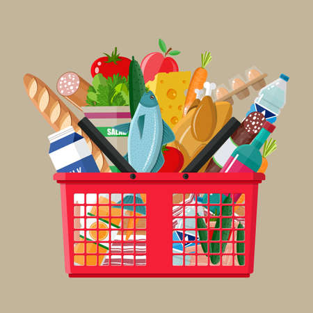 Foto de Red plastic shopping basket full of groceries products. Grocery store. vector illustration in flat style - Imagen libre de derechos