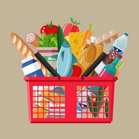 Ilustración de Red plastic shopping basket full of groceries products. Grocery store. vector illustration in flat style - Imagen libre de derechos